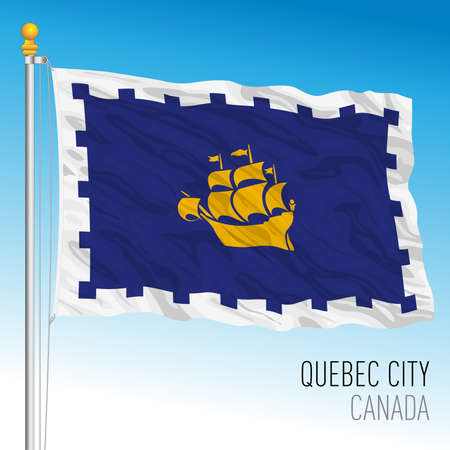 Quebec City flag, Canada, north america, vector illustration