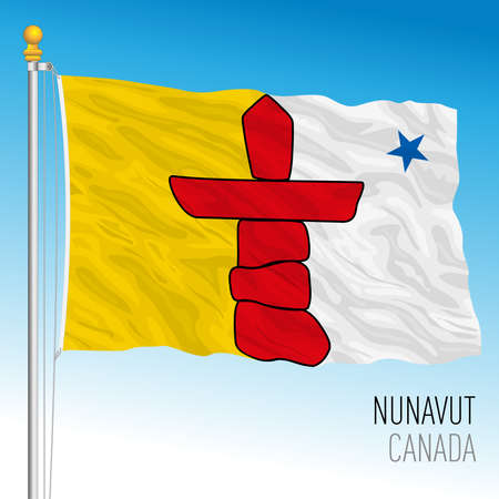 Nunavut territorial and regional flag, Canada, north american country, vector illustration