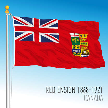 Canadian red ensign historical flag, 1868 - 1921, Canada, vector illustration