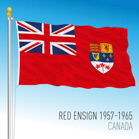 Canadian red ensign historical flag, 1957 - 1965, Canada, vector illustration