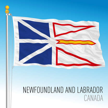 Newfoundland and Labrador territorial and regional flag, Canada, north american country, vector illustration Иллюстрация