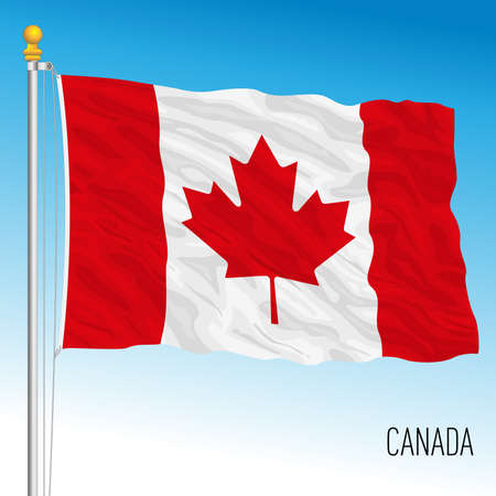 Canada official national flag, north american country, vector illustration, 4x3 dimension