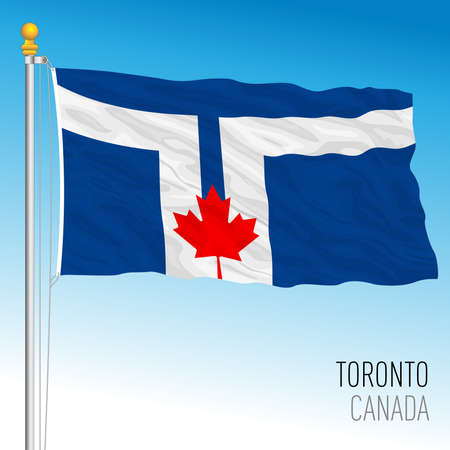 City of Toronto flag, Canada, north american country, vector illustration