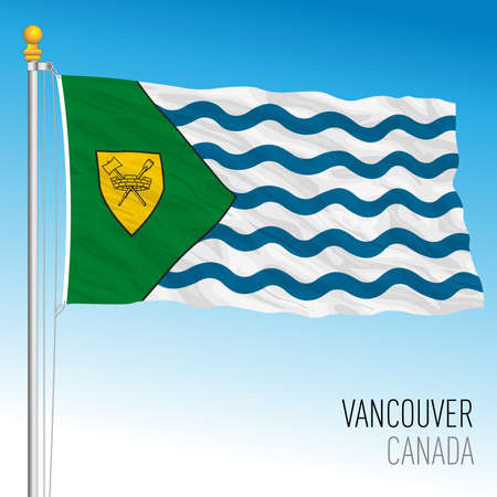 City of Vancouver flag, Canada, north american country, vector illustration