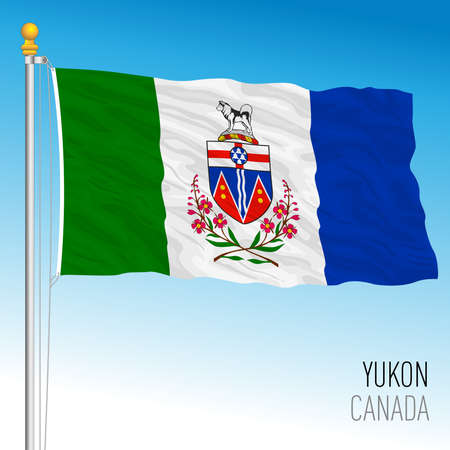 Yukon territorial and regional flag, Canada, north american country, vector illustration Иллюстрация