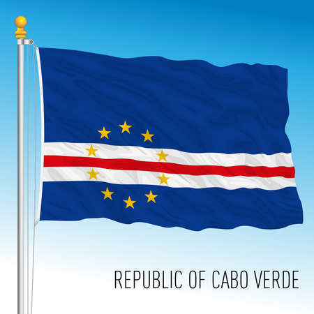Cape Verde Republic official national flag, african country, vector illustration