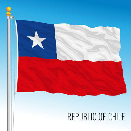 Chile official national flag, south america, vector illustration