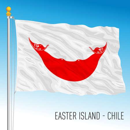 Easter Island flag, Chilean territory, vector illustration Vettoriali