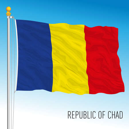 Chad official national flag, african country, vector illustration