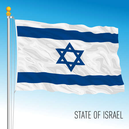 Israel official national flag, middle east country, vector illustration