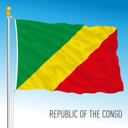 Congo republic official national flag, african country, vector illustration