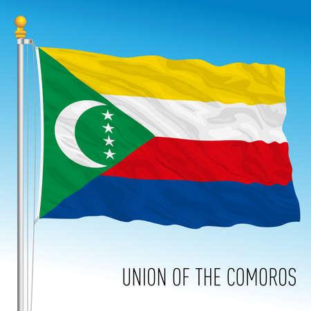 Comoros islands official national flag, indian ocean, vector illustration Vettoriali