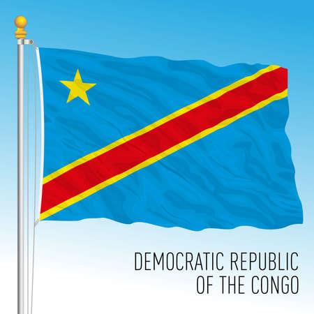 Congo Democratic Republic official national flag, african country, vector illustration