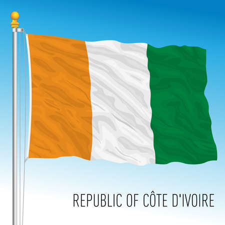 Ivory Coast official national flag, african country, vector illustration
