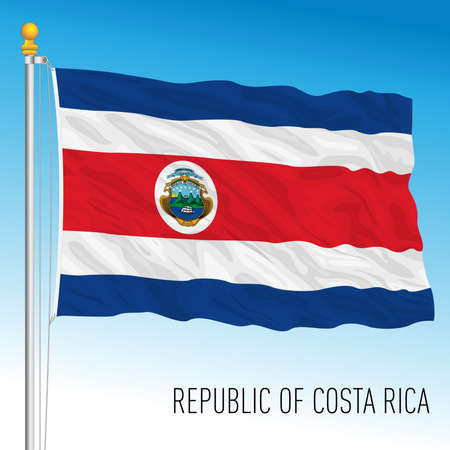 Costa Rica official national flag, american country, vector illustration Vettoriali