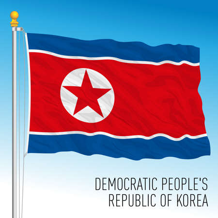 North Korea official national flag, asiatic country, vector illustration