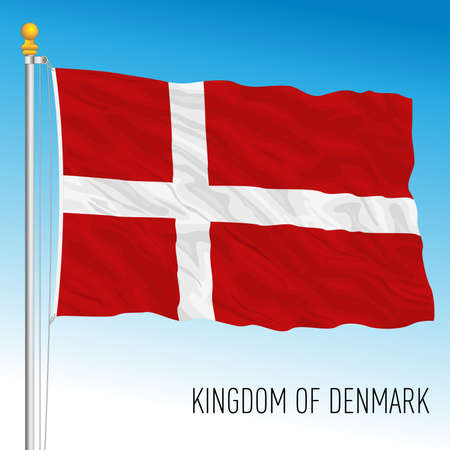 Denmark official national flag, European Union, vector illustration