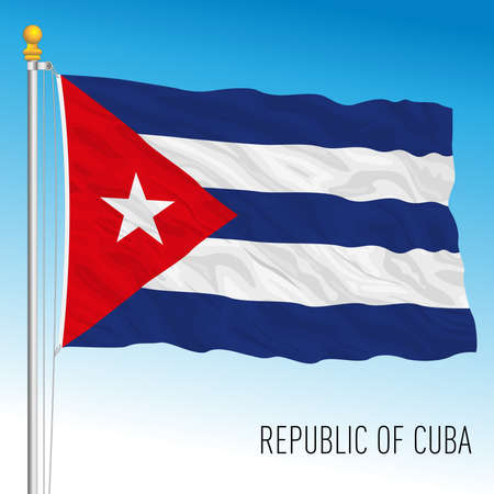 Cuba official national flag, american country, vector illustration Vettoriali