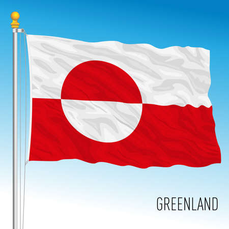 Greenland official national flag, american territory, Denmark, vector illustration Archivio Fotografico - 168968353