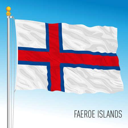 Faeroe official national flag, Danish territory, Europe, vector illustration Vettoriali
