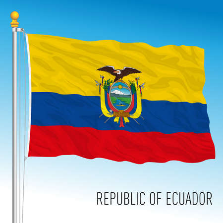Ecuador official national flag, south american country, vector illustration