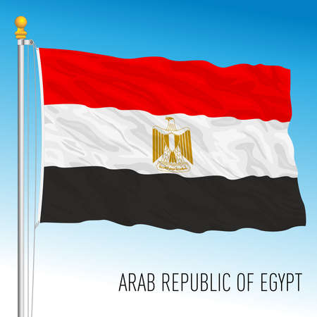 Egypt official national flag, african country, vector illustration Vettoriali