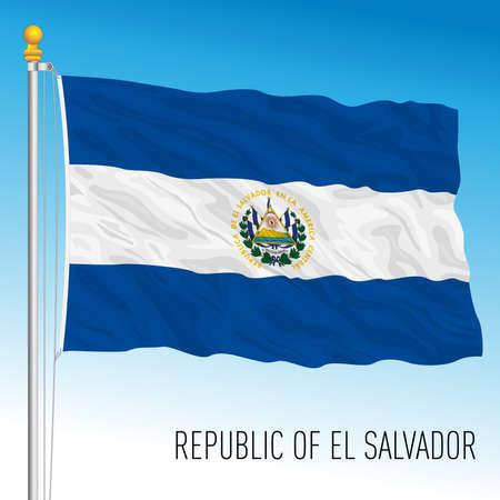 El Salvador official national flag, american country, vector illustration Archivio Fotografico - 169116577