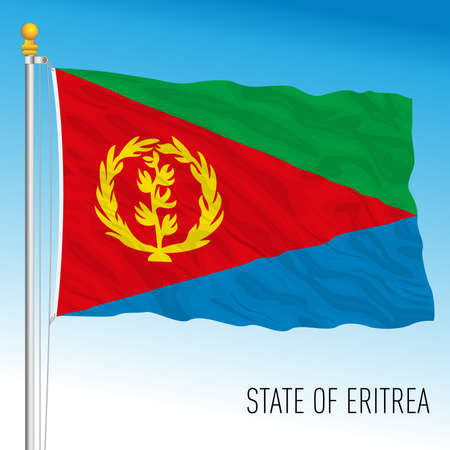 Eritrea official national flag, african country, vector illustration