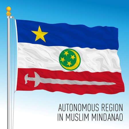 Mindanao Autonomous region flag, Philippines, asiatic country, vector illustration