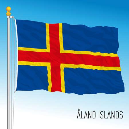 Aland official national flag, Finnish islands, vector illustration Vettoriali