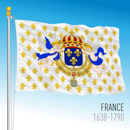 Kingdom of France, historical flag, 1638 - 1790 Vettoriali