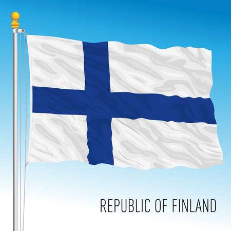 Finland official national flag, European Union, vector illustration