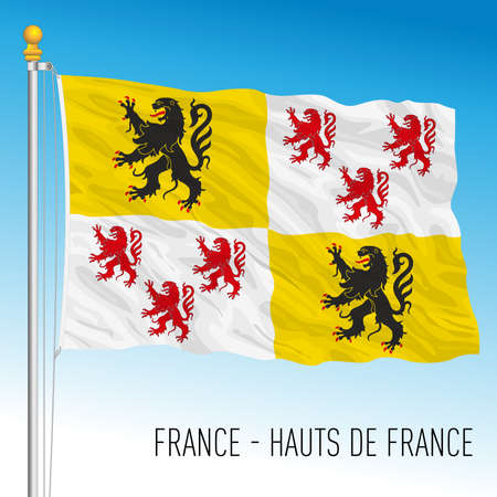Hauts de France regional flag, France, European Union, vector illustration