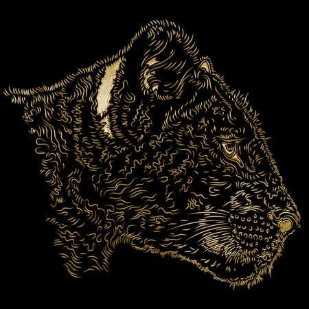 Lion cub head african wildlife, gold design effect on the black background, illustration