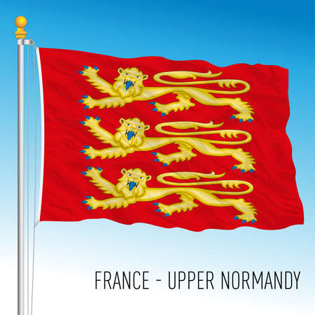 Upper Normandy regional flag, France, European Union, vector illustration
