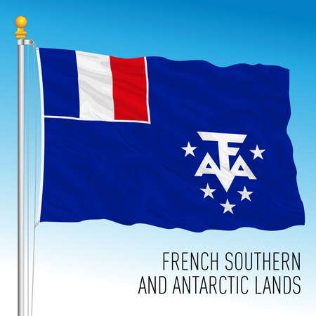 French Southern and Antarctic Lands territorial flag, France, European Union, vector illustration Vettoriali