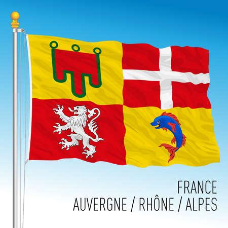 Auvergne Rhone Alpes regional flag, France, European Union, vector illustration