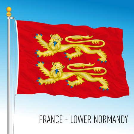 Lower Normandy regional flag, France, European Union, vector illustration