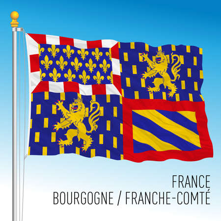 Bourgogne - Franche Comte regional flag, France, European Union, vector illustration Archivio Fotografico - 169370440