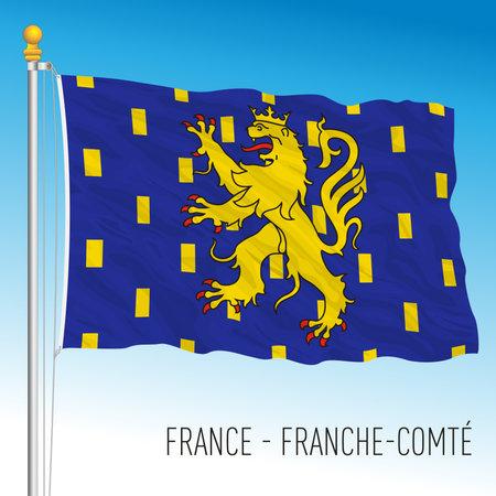 Franche Comte regional flag, France, European Union, vector illustration Vettoriali