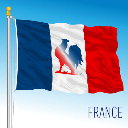 France, fancy flag with French cockerel symbol, European Union, vector illustration