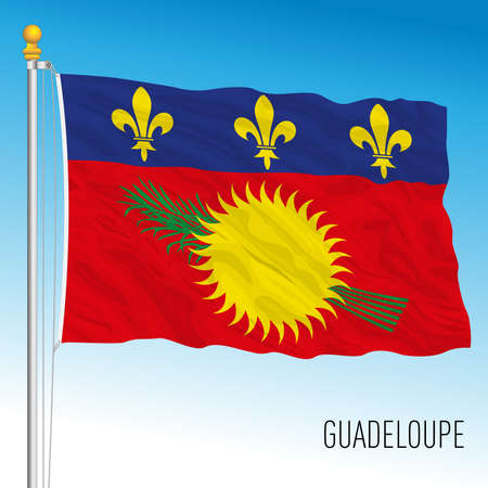 Guadeloupe official national flag, French territory, central america, vector illustration Vettoriali