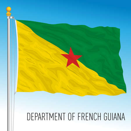 French Guiana regional flag, territory of France, south america, vector illustration Vettoriali