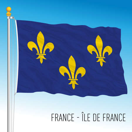 Ile de France regional flag, France, European Union, vector illustration