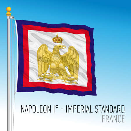 France, historical flag, imperial standard of Napoleon, vector illustration