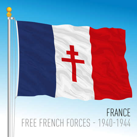 Free French Forces historical flag, France, vector illustration - 1940 - 1944
