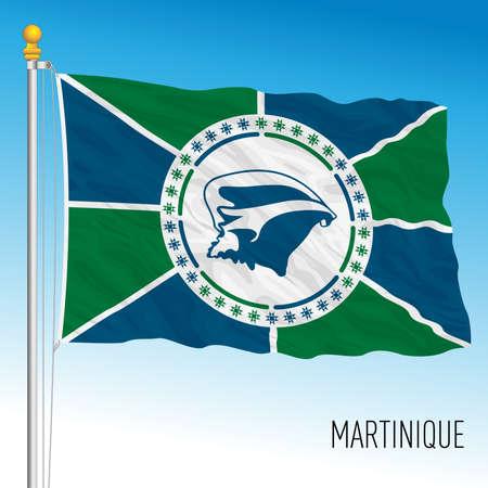 Martinique regional flag, France, caribbean country, vector illustration Vettoriali