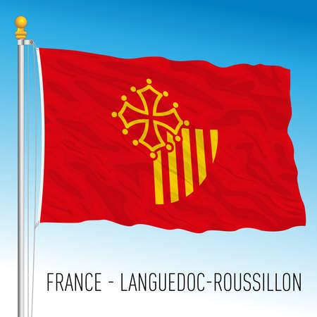 Languedoc - Roussillon regional flag, France, European Union, vector illustration Vettoriali