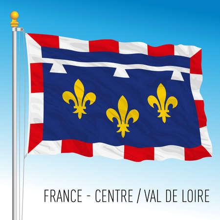 Center - Val de Loire regional flag, France, European Union, vector illustration Vettoriali