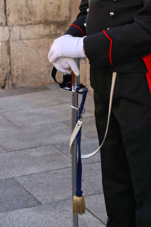 Sword of the ceremonial uniform of the Carabinieri military corps, Italian army, detail with the frieze, cockade and coat of arms